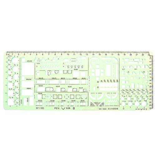 Wanfor grüne geometrische Vorlage Lineal Zeichenwerkzeuge für Schüler Schule Schreibwaren Pro, Schule Produkt Werkzeug