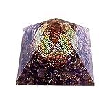 Orgonit in Pyramiden-Form mit mehrfarbiger-Blume des Lebens violett