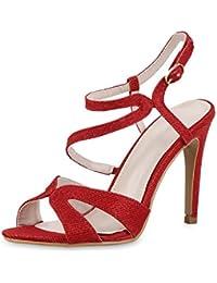 napoli-fashion Damen Riemchensandaletten Glitzer Sandaletten Stiletto High Heels Metallic Party Schuhe Elegante Abendschuhe Hochzeit Jennika
