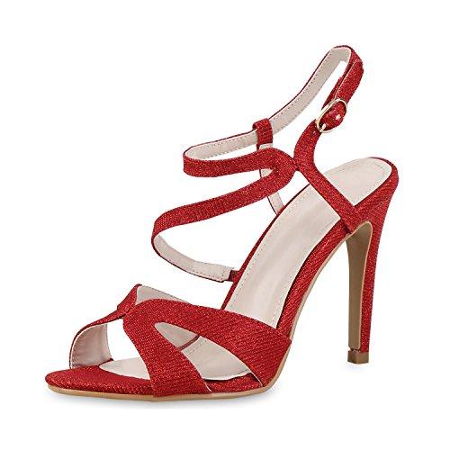 napoli-fashion Damen Riemchensandaletten Glitzer Sandaletten Stiletto High Heels Metallic Party Schuhe Elegante Abendschuhe Hochzeit Jennika Rot Schnalle