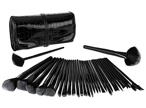 Tinabless 32pcs Pinceaux de Maquillage Kit Beauté Make Up Brush Set Poudre Brosse Pour le Visage avec Crocodile Pouch