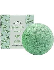 GreenTouch Eponge faciale Konjac toute naturelle avec Thé Vert | Enlever le Gras & l'Exfoliant | Nettoyage en profondeur en forme d'une demi balle | Fibre de plante 100% biodégradable | Vert