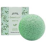 Esponja Natural de Konjac de GreenTouch Para la Cara con el Té Verde | Elimina el aceite y cutis | Hace la limpieza profunda en forma hemisférica | Fibra vegetal