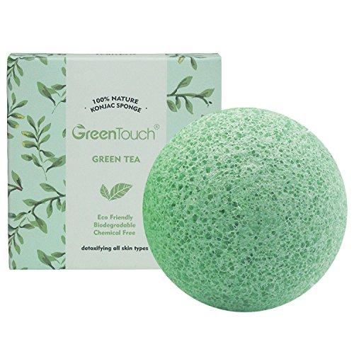 GreenTouch del tutto Naturale Spugna di Konjac per Faccia con Tè Verde | Rimuove Grasso & Esfolia | Pulizia in profondità con forma a Semisfera | Fibra di Pianta 100% Biodegradabile | Verde