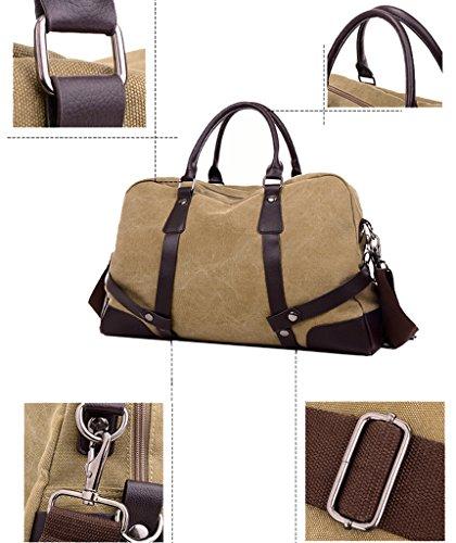 Super Modern tela Tote spalla bagaglio weekend borsone da viaggio uomo in pelle, Uomo, Brown Grey