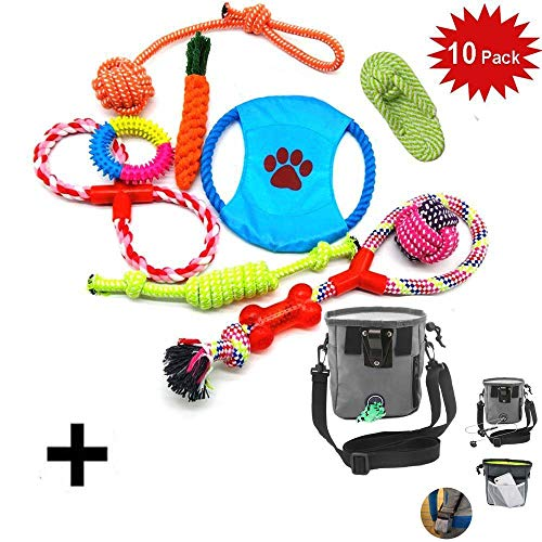 10 PCS Perro Mascota Juguetes Interactivos,WoBoSen Cuerdas de Nudo, Bolas, Zapato, Disco...