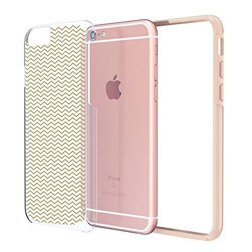 """iPhone 6 6s Plus Case 5.5"""", Hülle True Color® Chevron Waves Gedruckt auf freier transparenter Hybrid -Abdeckung Hard + Soft Slim dünnen haltbaren Schutzschutz aus Gummi TPU Stoßabdeckung - Pink Schmal Gold"""