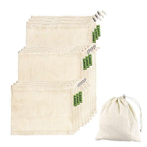 Obst- und Gemüsebeutel Einkaufstaschen mit Brotbeutel aus Baumwolle - plastikfrei - Wiederverwendbar - Shopper-Set 9 (3 Klein - 3 Medium - 3 Large) + 1x Stoffbeutel