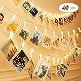 Sendo 40LED 6M Guirlande Lumineuse Interieur Photo Chambre LED, Batterie fonctionnant Éclairage d'ambiance décoration pour photo suspendu Memos oeuvres d'art [Classe énergétique A+]