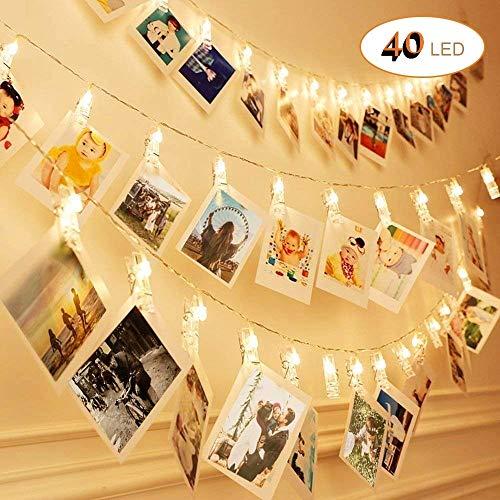 6M 40LED Luci per Foto Polaroid, Sendo Lucine Led Decorative per Camere, Porta Foto Mollette, Luci Led Foto Clip, Luci Mollette Led, Luci Tumblr Camera (Classe di efficienza energetica A)
