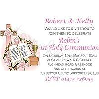 Eternal Design Inviti personalizzati per festa della Prima Comunione, motivo a croce rosa e Bibbia, 10 pezzi