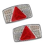 AOHEWEI 2pcs Luci Posteriori per Rimorchi LED Fanali del Freno per Camion Lampada Indicatore con Luce Targa di Licenza Impermeabile 10~30V per Rimorchio Camion Caravan o Van (53 led chip-2pcs)