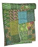 Tribal Asian Textiles Steppdecke / Überwurf aus indischer Seide - Stil: Sari, Patchwork, Kantha - für Doppelbett, wendbar