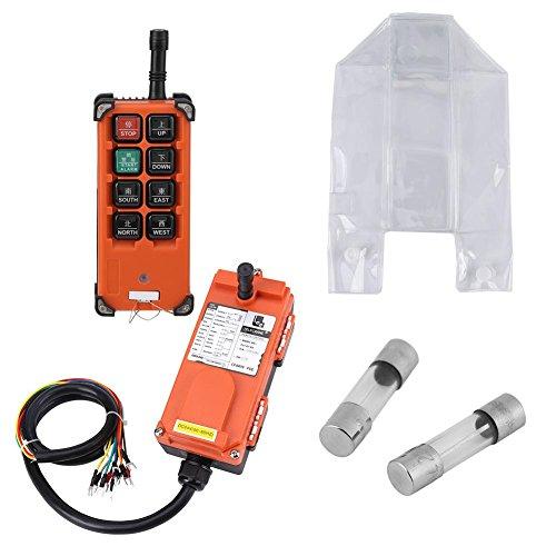 Akozon Hoist Fernsteuerungssystem,24VDC Hoist Crown Block 1 Geschwindigkeit Fernsteuerungssystem Fernbedienung und Empfänger Set Up-Down Control Station