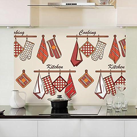 Surface résistante à l'huile de cuisine résistance à haute température anti-seize carreaux de mur de verre autocollant graisse de s'en tenir à l'extracteurs étanche autocollant résistant à l'huile 90*60cm, heureuse petite cuisine