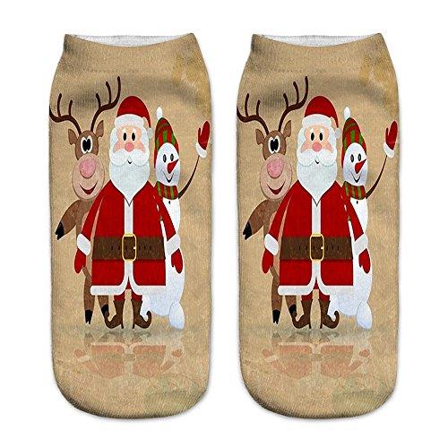 OverDose Damen 3D Gedruckt Weihnachten Frauen Unisex Lässig Täglich Home Party Geschenk Socken Niedliche Unisex Low Cut ()