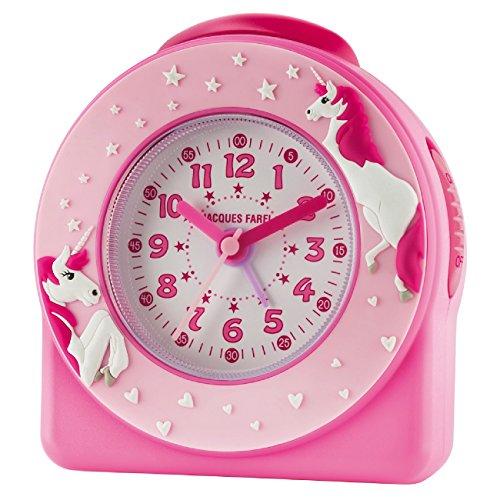 Jacques Farel-Despertador infantil para niña 3d unicornios/Estrellas Rosa/Rosa sin tic tac) Snooze Analógico de Cuarzo ACW 50