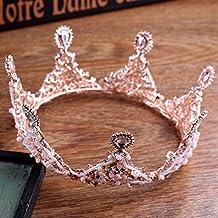 MDRW-Tocado Nupcial De La Horquilla Del Salón De Bodas Pink Europeo Lujoso Corona Ornamento