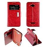 Coque housse Etui Folio Fenêtre Alcatel One Touch C7 - Rouge