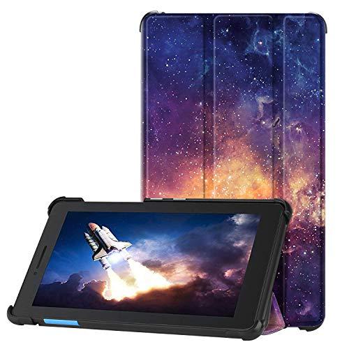 Fintie Hülle für Lenovo TAB E7, Ultradünne Superleicht Flip Hülle mit Ständer Funktion und magnetischer Abdeckung für Lenovo Tab E7 7 Zoll (2018), die Galaxie