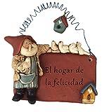 Gnomys Diaries El Hogar De La Felicidad Placa con Mensaje, Piedra, 8x3x8.5 cm