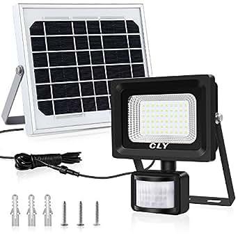 Solarlampe für Außen Solar Strahler CLY 60 LED Solarleuchte mit Bewegungsmelder LED Solar Strahler LED Solar Bewegungsmelder Aussen IP66 Wasserdicht Super Hell 400LM für Garten Garage Patio(MEHRWEG)
