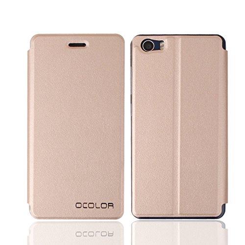 Guran® Funda de Cuero Para BLUBOO Picasso Smartphone con Función de Soporte Flip Case Cover--dorado