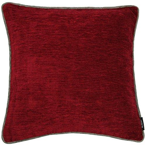 McAlister Textiles Alston Chenille | Kissenbezug für Sofakissen in Rot mit Grau| 60 x 60cm |...