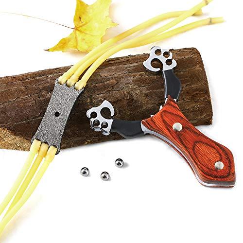 Oramics Set Profi Stein-Schleuder aus Stahl und mit Holz-Griff und Gummiband + 100 Stahlkugeln Munition
