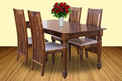 Furniselan Dining Set of Four Chairs in Teak Finish