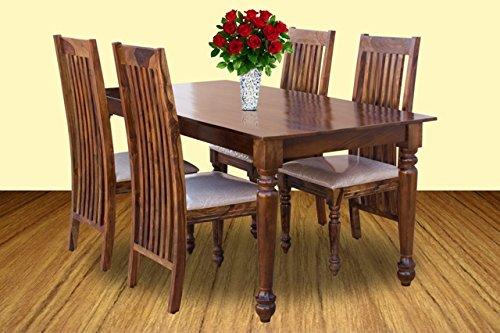 Furniselan Dining Set of Four Chairs in Teak Finish