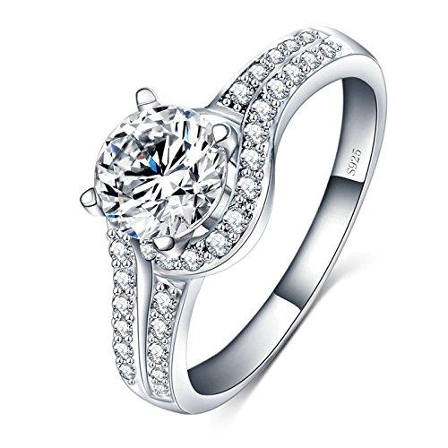 Adisaer Hochzeitsringe Damen Ring Silber Linien Kristall Halbkreis Zirkonia Ring Größe 52 (16.6) Party