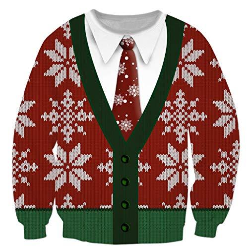 3D Realistisch Drucken Weihnachtspullover für Paare Christmas Ugly Sweater Weihnachtsmann Herren Damen Sweatshirt Langarmshirt Festliches Top Weihnachten Pullover Pulli Streetwear - Rock Star Kostüm Für Paare