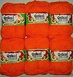 #3: ELA Yashika Best Quality Yarn Orange Colour - Pack of 6