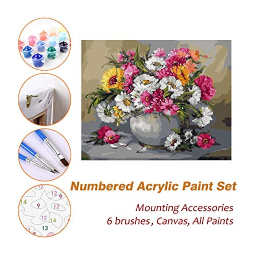 Full House Paint Acryl Ölgemälde Malen nach Zahlen Kits Sets mit Rahmen für Kinder Erwachsene Anfänger Künstler, Bunte Blumen im Topf DIY Wandkunst Bild Fotografie Pinsel liefert 622 (Acryl Paint Kit)