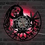 GuoEY 12 inches Hohle Runde Bob Marley Quarz CD Wanduhr Kreative Antiken Stil Dekorative LED Uhr Vinyl Record Clock Room Decor