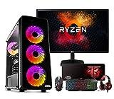 Megamania PC Gaming AMD Ryzen 5 3400G, Ordenador de sobremesa 4.2GHz Turbo Quad Core | 16GB DDR4 | SSD 480GB | Gráfica AMD Radeon Vega RX 11 + Monitor LED FullHD 22' + Kit Teclado ratón Regalo