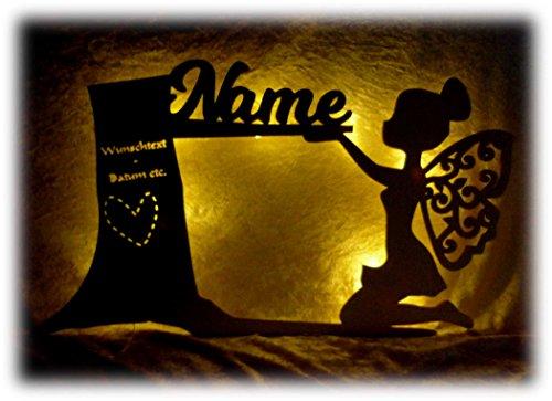 Möbel Nachtlicht Wald Fee Lampe mit Name für das Kinderzimmer oder das Babyzimmer, als Taufgeschenk oder Geburtstagsgeschenk für Mädchen Frauen Frau ()