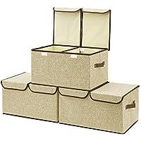 EZOWare Caja de Almacenaje x 3 sets, Almacenaje Juguetes, Caja para Ropa,Khaki