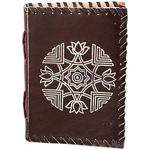 Store Indya, Diario encuadernado del cuero genuino hecho a mano Diario de Viaje sin forro Notebook Agenda de bolsillo 75 hojas 150