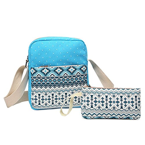 TOOGOO(R) 2 pcs/set Polka Dot Printing Women Backpack Cute Lightweight Canvas Bookbags Middle High School Bags for Teenage Girls, Sky Blue