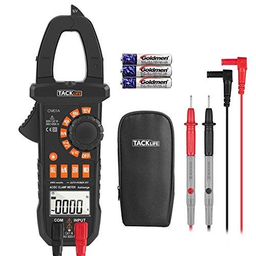 Tacklife CM01A Advanced Digital Clamp Meter Zangen Multimeter Amperemeter mit 4000 Counts Messen von Wechselstrom, Gleichstrom, AC / DC Spannung mit Hintergrundbeleuchtung