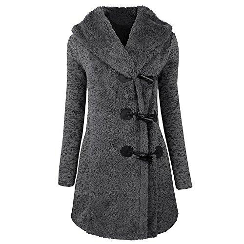 BHYDRY Damen Mode Elegant Retro Winter Plus Dick Warmer Horn Schnalle Seite SchließUng Mantel Parka Hoodie Frauen Outwear NäHen Sherpa Jacket - Seite Schnalle Schließung