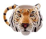 Puckator MUG227 Ceramic Mug with Tiger Head Design - Orange/Black/White