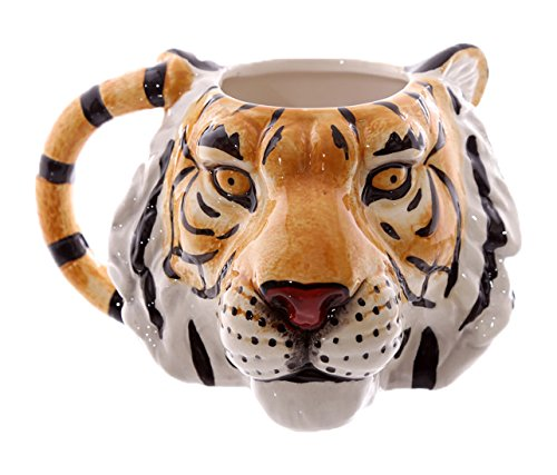 Puckator MUG227 Mug Design Tête de Tigre Céramique Orange/Noir/Blanc