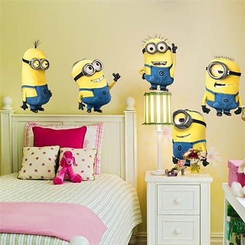 5 Minions Despicable Me - Pegatina de Pared Removible - Decoracion para habitacion de niños -
