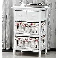 Just Shabby pulcino con 2 cassetti in vimini, da 2/3/4, in vimini, tavolino da Armadietto-comodino camera da letto, colore: bianco, 2 Drawer + 2 Baskets