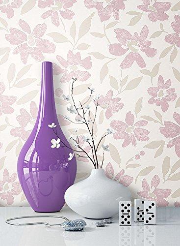 NEWROOM Blumentapete Tapete Beige Blumen Blätter Floral Vliestapete Rosa Vlies moderne Design Optik...