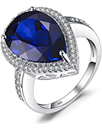 Jewelrypalace Luxus Birnenschnitt 7ct Erstellt Rubin Saphir Smaragd Solid 925 Sterling Silber Verlobungsring