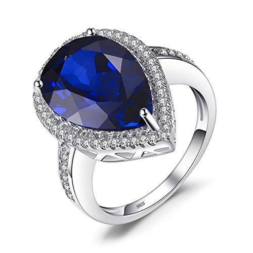 Jewelrypalace Luxus Birne 7ct Synthetisch Blau Saphir Ring Jahrestag Damen 925 Sterling Silber Verlobungsringe Größe 51 to 59